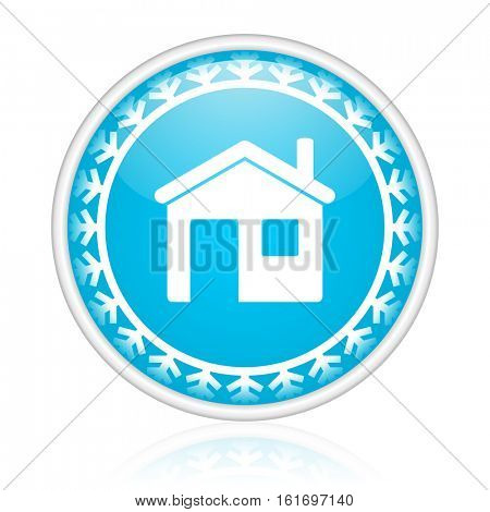 Home vector icon. Winter and snow design round web blue button. Christmas and holidays pushbutton.