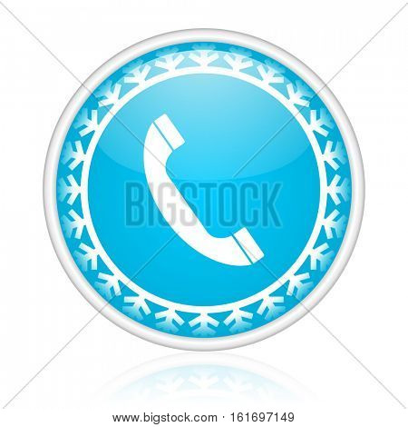 Phone vector icon. Winter and snow design round web blue button. Christmas and holidays pushbutton.
