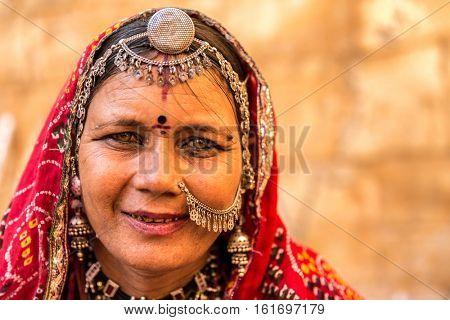 Traditional Indian woman in sari costume, India