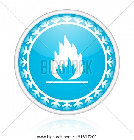 Flames vector icon. Winter and snow design round web blue button. Christmas and holidays pushbutton.