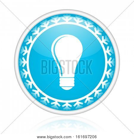 Light bulb vector icon. Winter and snow design round web blue button. Christmas and holidays pushbutton.
