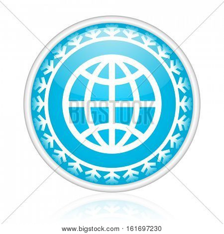Earth planet vector icon. Winter and snow design round web blue button. Christmas and holidays pushbutton.
