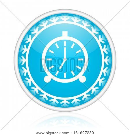 Alarm clock vector icon. Winter and snow design round web blue button. Christmas and holidays pushbutton.