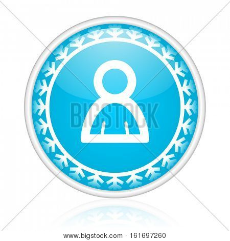 Human vector icon. Winter and snow design round web blue button. Christmas and holidays pushbutton.
