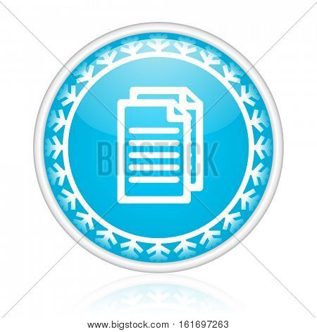 Document vector icon. Winter and snow design round web blue button. Christmas and holidays pushbutton.