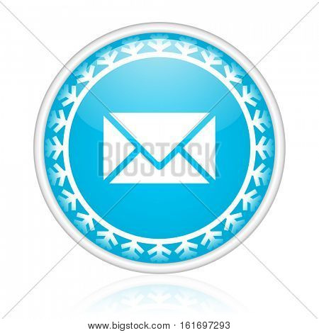 Email vector icon. Winter and snow design round web blue button. Christmas and holidays pushbutton.