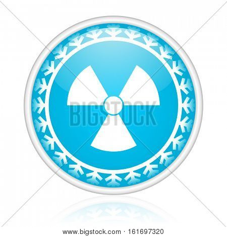 Atom vector icon. Winter and snow design round web blue button. Christmas and holidays pushbutton.