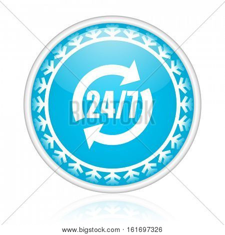 Service vector icon. Winter and snow design round web blue button. Christmas and holidays pushbutton.
