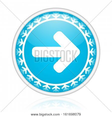 Arrow right vector icon. Winter and snow design round web blue button. Christmas and holidays pushbutton.