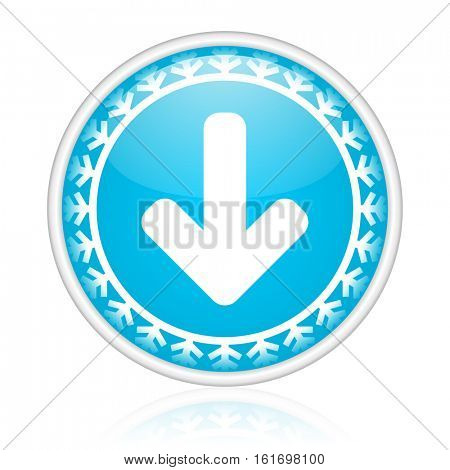 Arrow down vector icon. Winter and snow design round web blue button. Christmas and holidays pushbutton.