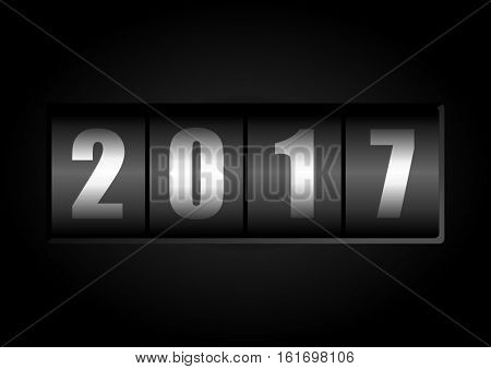 Happy new year 2017 vector greeting card with counter on black background.