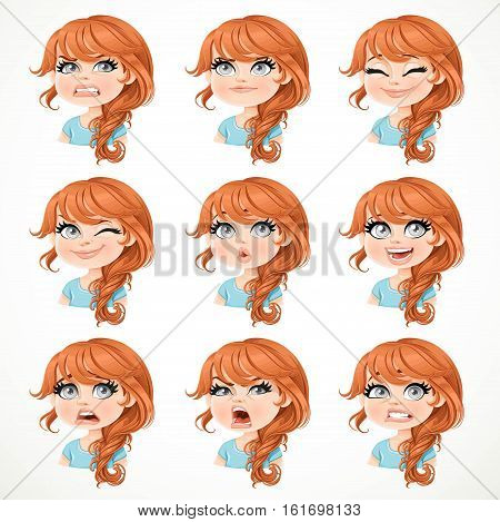Beautiful Cartoon Brunette Girl Portrait Of Different Emotional States Set 3 Isolated On White Backg