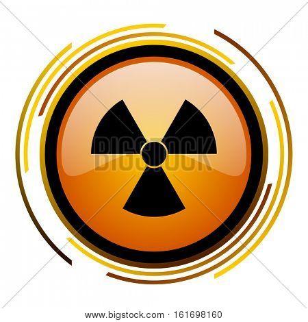 Radiation orange glossy vector icon.