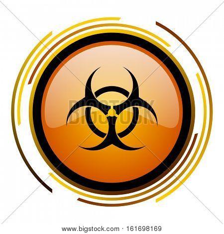 Biohazard orange glossy vector icon.
