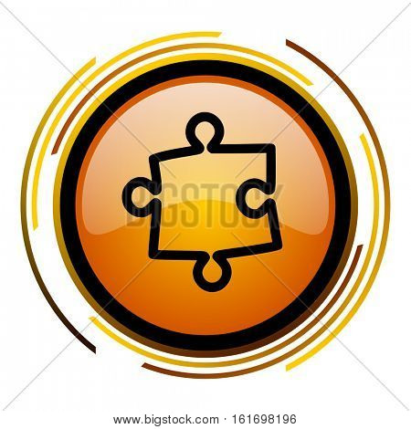 Puzzle orange glossy vector icon.