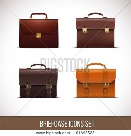 Briefcase icons set, realistic vector illustration Isolated in white background.