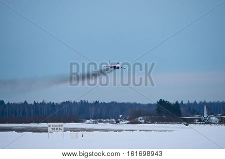Kubinka,Moscow Region, Russia - December 07,2016: Mig-29 aerobatic team Swifts lowpass