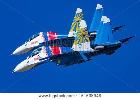 Zhukovskiy,Moscow Region, Russia - August 25,2015: Su-27 aerobatic team Russian Knights during maneuver.
