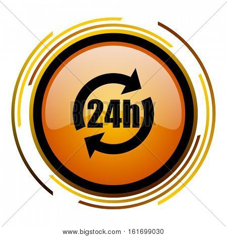 24 hours button orange glossy vector icon.