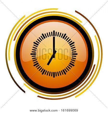 Clock button orange glossy vector icon.