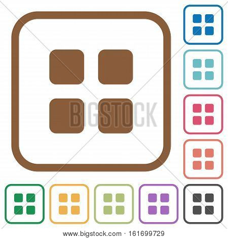 Large thumbnail view simple icons in color rounded square frames on white background