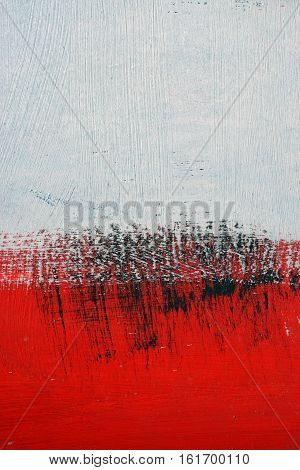 Black, White, Red Acrylic Paint  On Metal Surface. Brushstroke 9