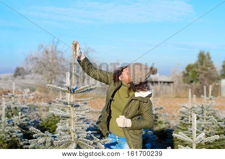 Happy Young Woman Selecting Her Tree For Christmas