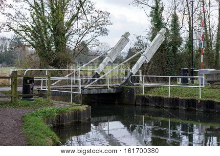 Canal drawbridge on the Basingstoke canal in Hampshire