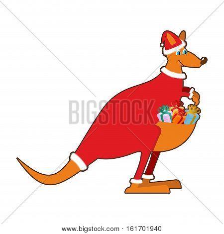 Santa Claus Australia. Australian Kangaroo Santa. Wallaby In Christmas Cap. Gifts In Bag. Marsupials