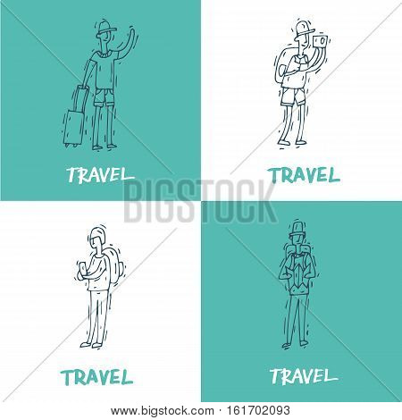 People travel-ling and having a rest. Characters. Hand drawn vintage style. Flat design vector illustration.