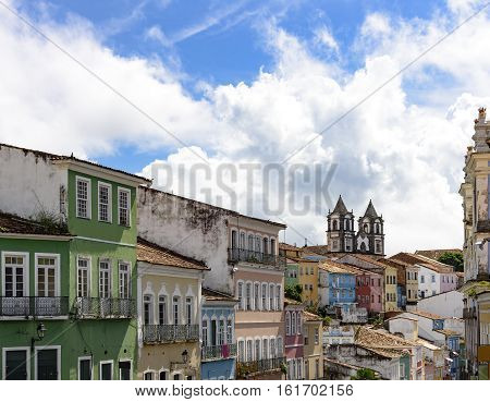House facades and churches of the old and historic district of Pelourinho in Salvador Bahia