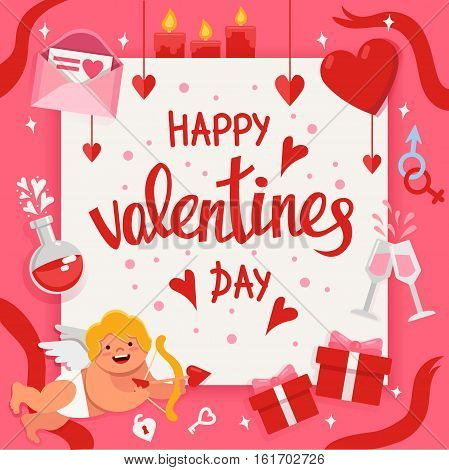 Valentine day poster with handwritten lettering and colorful flat elements. Vector holiday illustration.