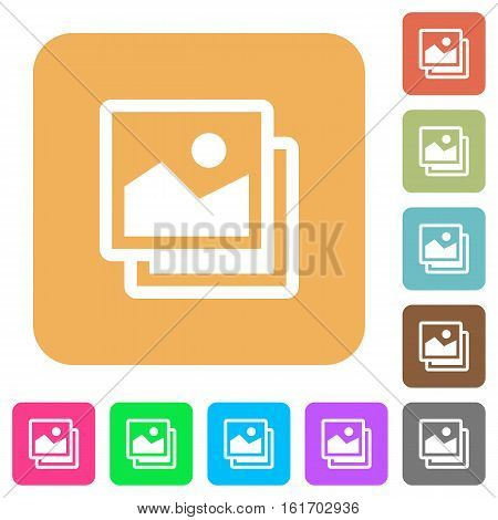 Pictures icons on rounded square vivid color backgrounds.