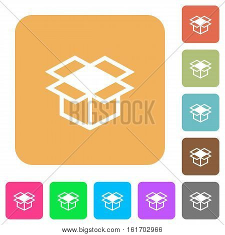 Open box icons on rounded square vivid color backgrounds.