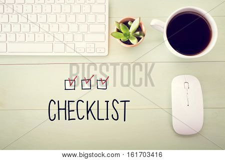 Checklist Concept With Workstation