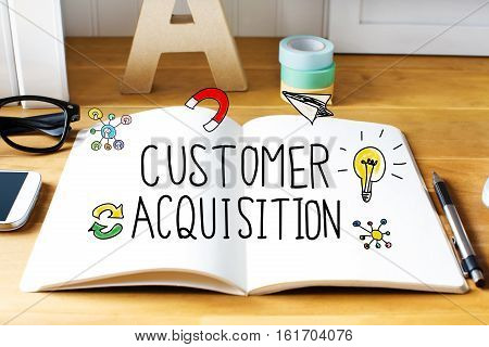 Customer Acquisition Concept With Notebook