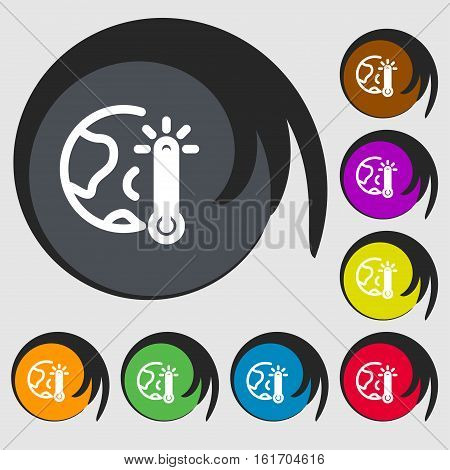 Global Warming, Ecological Problems And Solutions, Thermometer Icon Sign. Symbols On Eight Colored B