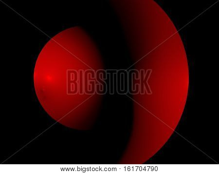 Abstract Fractal Two Hemispheres Red
