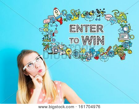 Enter To Win Concept With Young Woman
