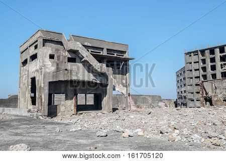 An abandoned mining colony off the coat of Nagasaki, Japan