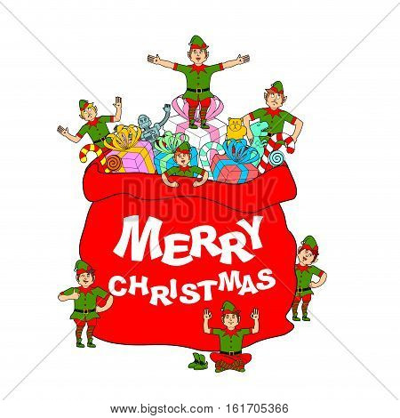 Merry Christmas. Santa Bag With Gift And Elves. Big Red Sack For Children Presents. Elf In Green Clo