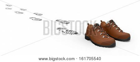 Shoes with traces isolated on white background 3D rendering