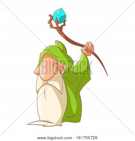 Colorful vector illustration of a Cartoon dwarf elf or gnome