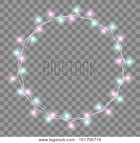 Glowing garland with small lamps. Garlands Christmas decorations lights effects. Glowing lights Garlands Xmas Holiday greeting card design. Vector illustration, clipart
