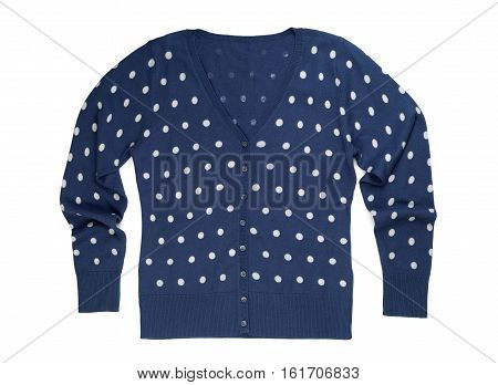 Blue pullover polka dot isolate on a white background