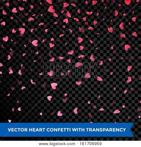 Hearts petals confetti falling on transparent background Valentine Day design element for greeting card. Flower petals in shape of heart