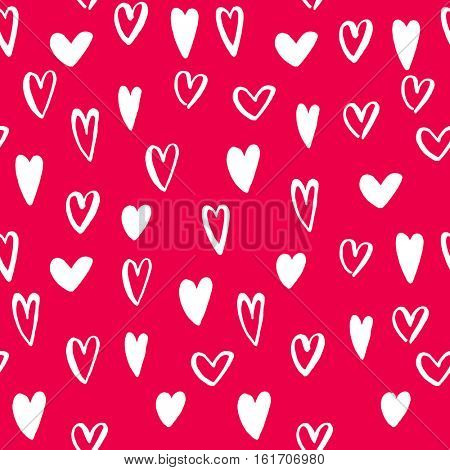 Vector heart seamless pattern. St Valentine red pink background of hearts hand drawn art icons. Design for Valentines day greeting love card. Vector sketch of marker felt-tip pen drawing