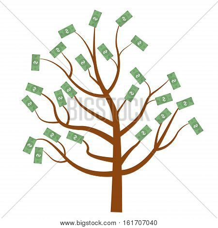 Tree with money. Dollars on the tree. Flat design, isolated on white background. Vector illustration, clip art