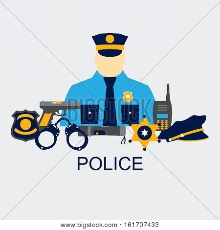 Vector line set collection icons of police equipment vector illustration