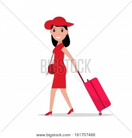 Vector illustration of cartoon fashionable girl with a suitcase on wheels. Elegant fashion woman going travel. Isolated white background. Flat style. Female traveler. Woman with travel luggage.